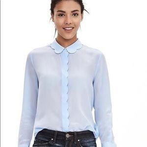 Banana Republic // Light Blue Silk Scalloped Shirt